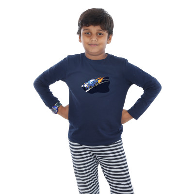 Blue Full Sleeve Boys Pyjama - Hot Wheels